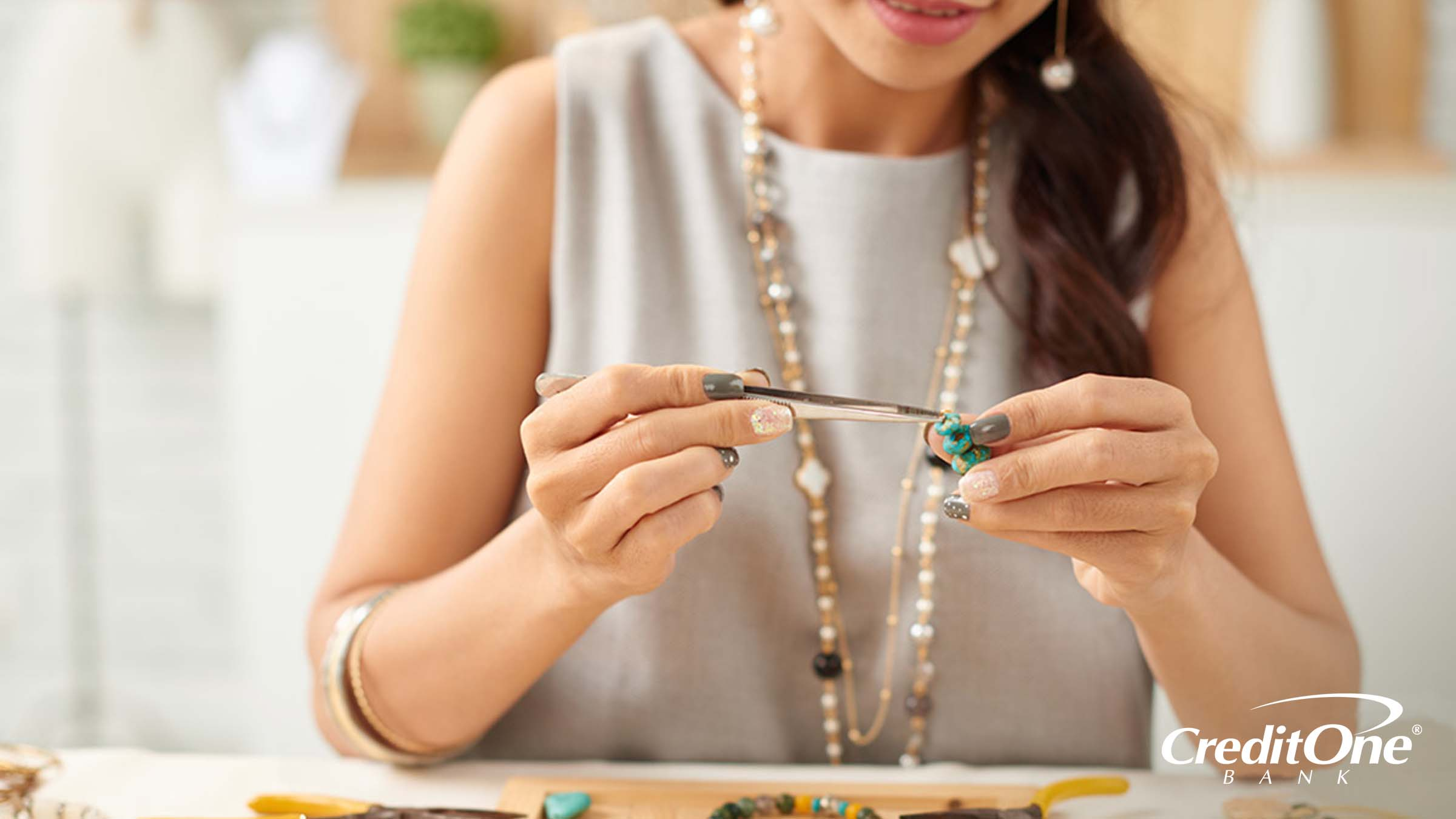 Woman with a side-hobby of designing her own jewelry